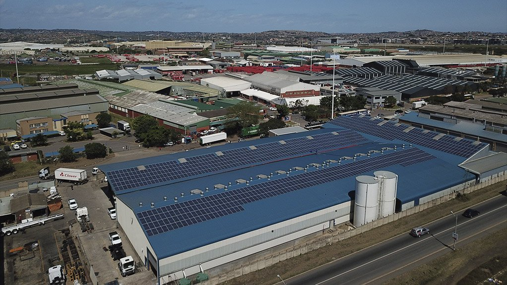 Serco's factory in Durban with solar panels