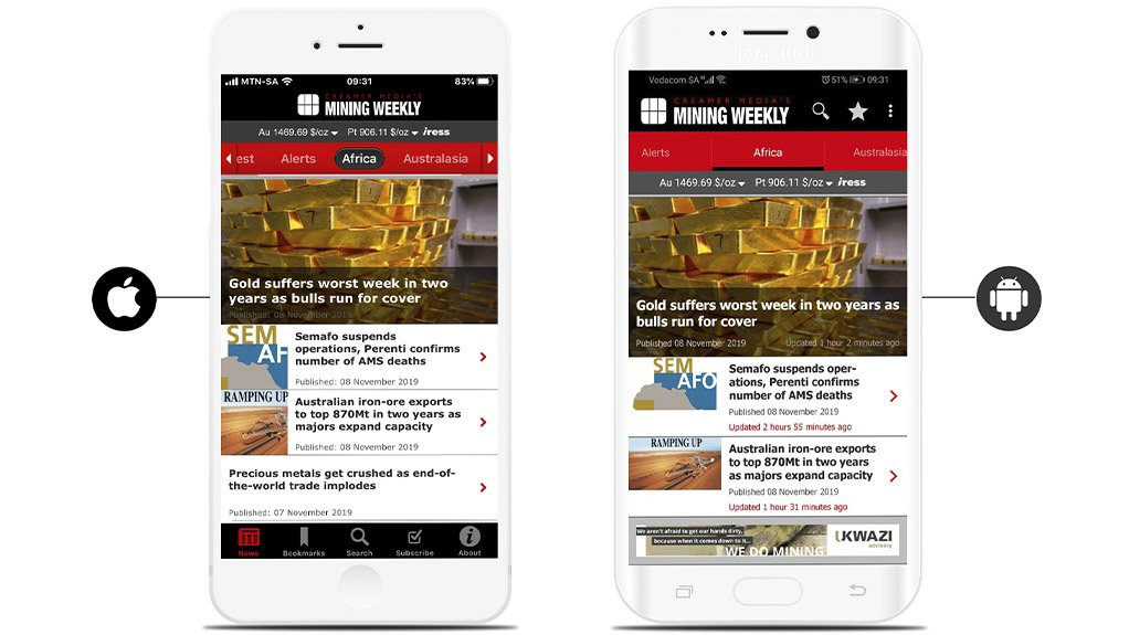 Mining Weekly iPhone and Android Apps available for free download