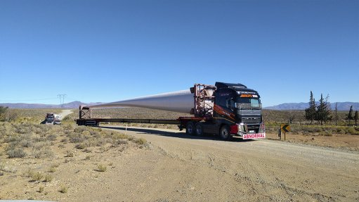 BLADE RUNNING About half of the turbine components had been delivered to Kangnas and Perdekraal Wind Farms in October