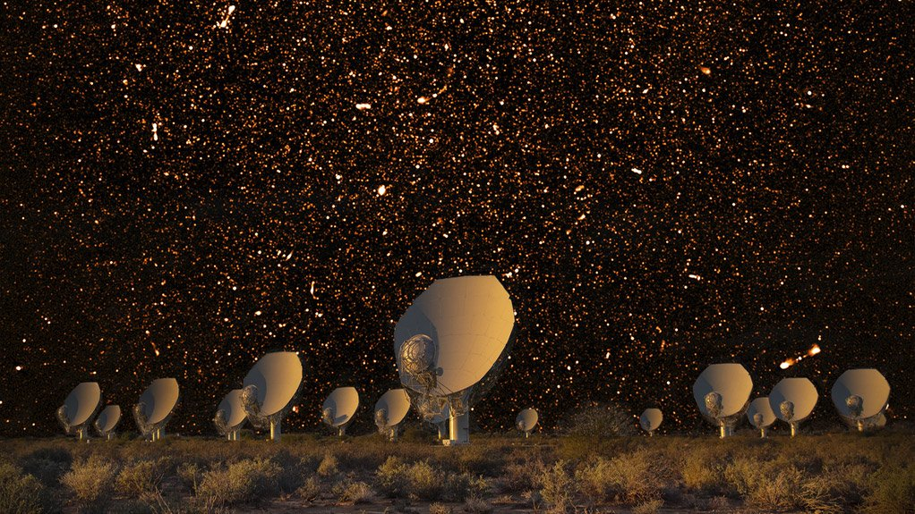 A composite image of radio galaxies and the MeerKAT array.