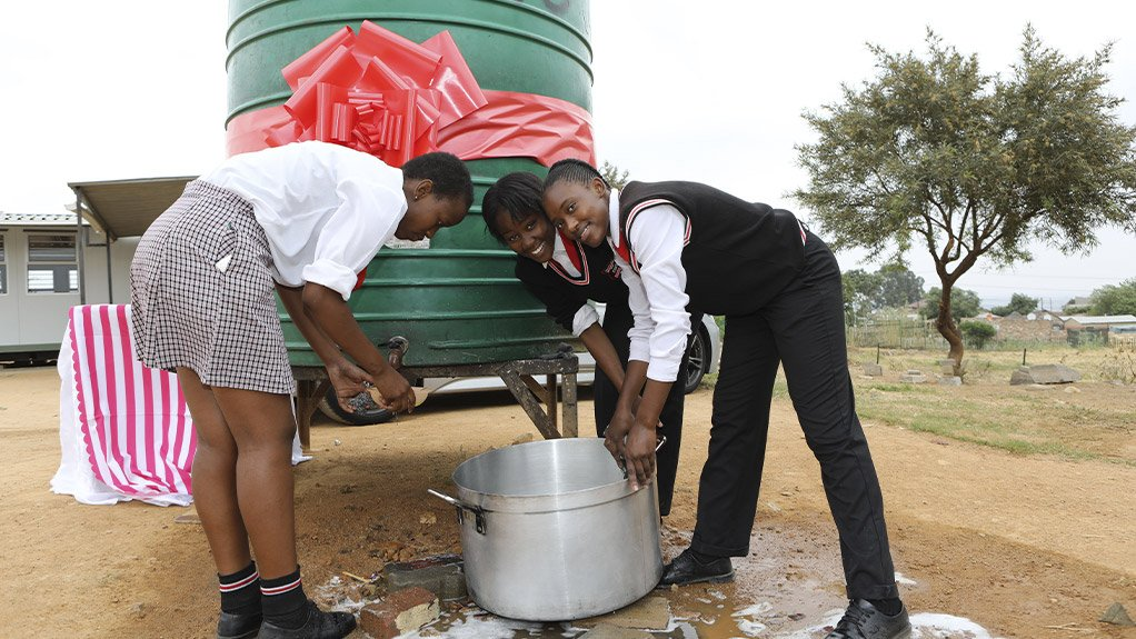 A CELEBRATION OF WATER  The borehole, which produces water from an aquifer, is expected to supply enough water to at least 3 000 learners