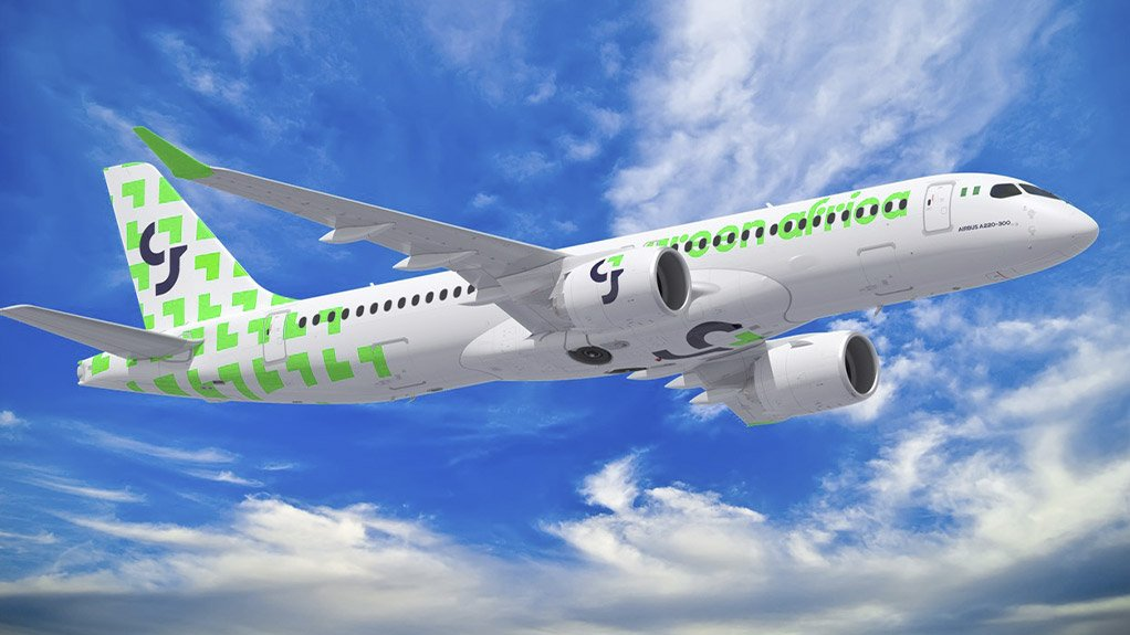 A computer-generated image of an A220-300 in Green Africa Airways livery