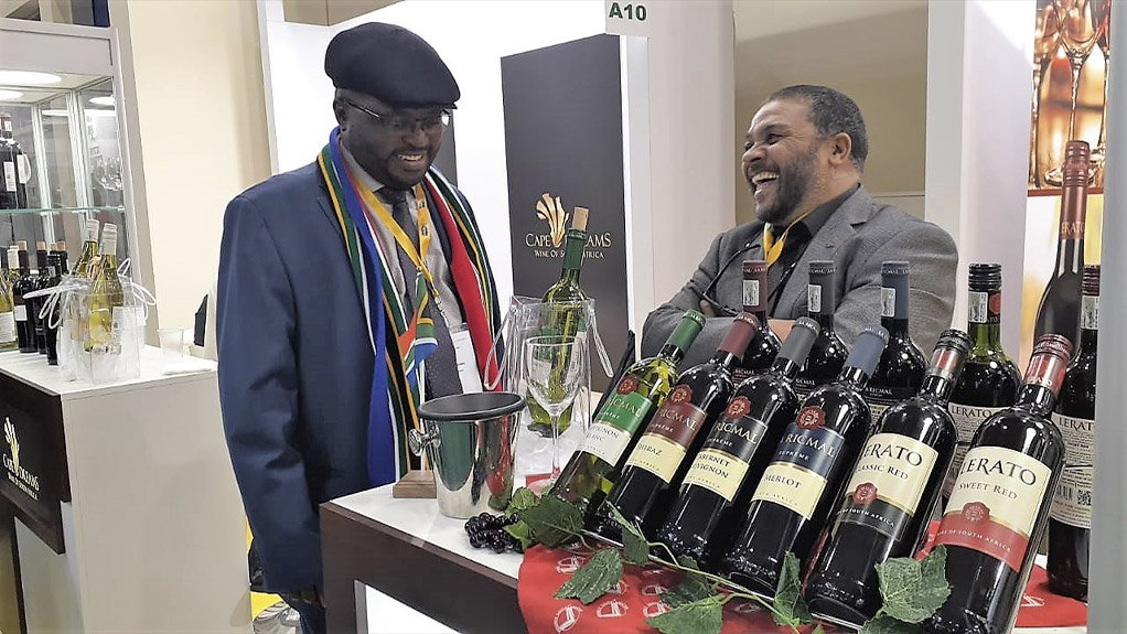 Foreign Economic Representative of South Africa in Russia, Mr Moloko Leshaba.and the Marketing Manager of La Ric Mal Wines Mr Malcom Green at the Prodexpo international trade show in Russia