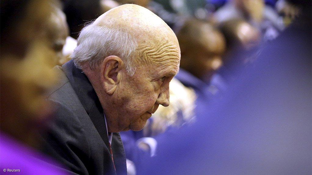 Former Apartheid-era President FW de Klerk