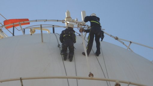 Interior tank cleaning made easier through rope access