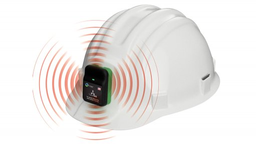 A Proximity Trace device attached to a hard hat