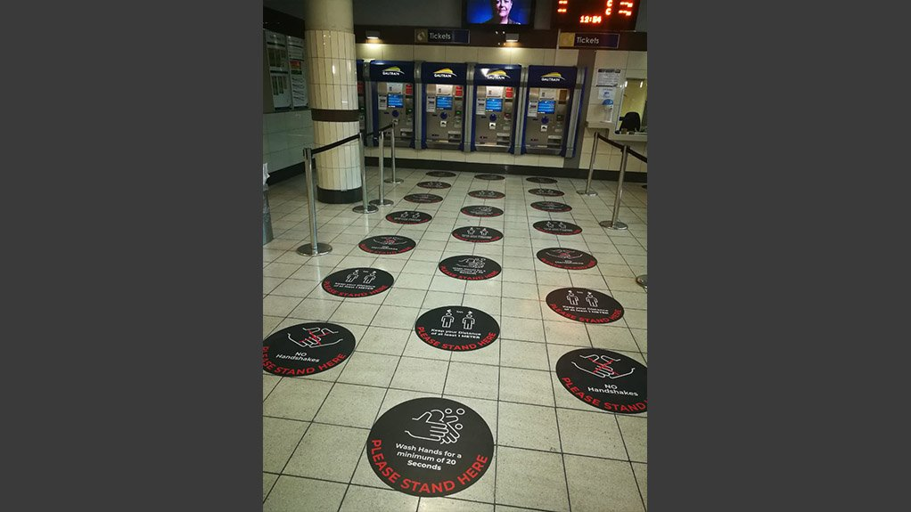 STANDING APART Floor markings and other measures have been implemented at Gautrain stations to ensure commuters adhere to physical distancing protocols