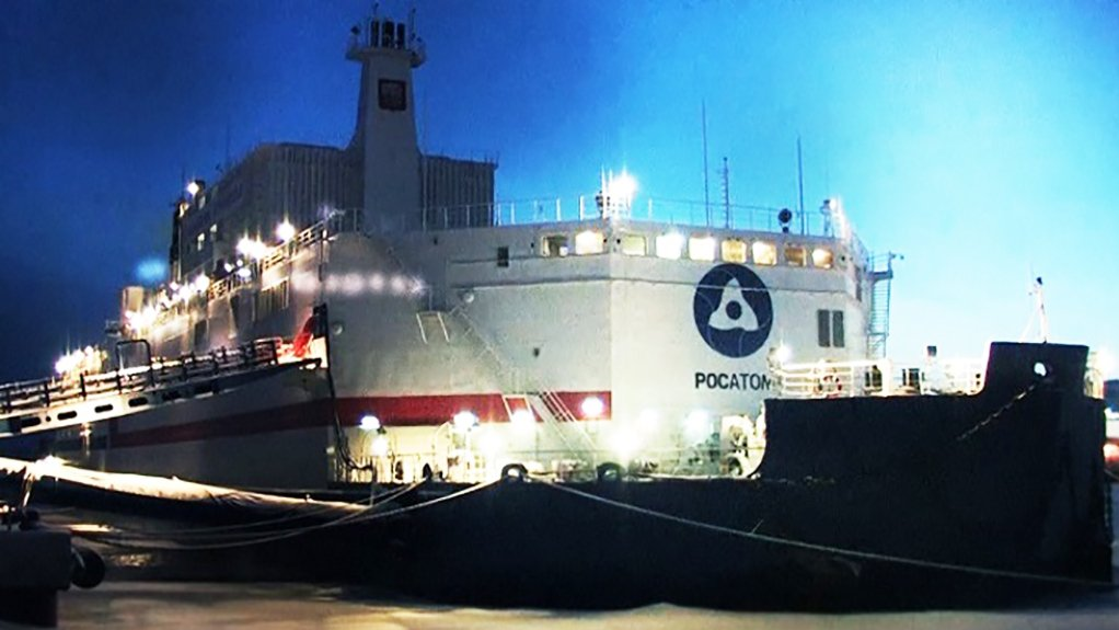 The Akademik Lomonosov floating NPP, moored at Pevek in the far north of Russia's Far East
