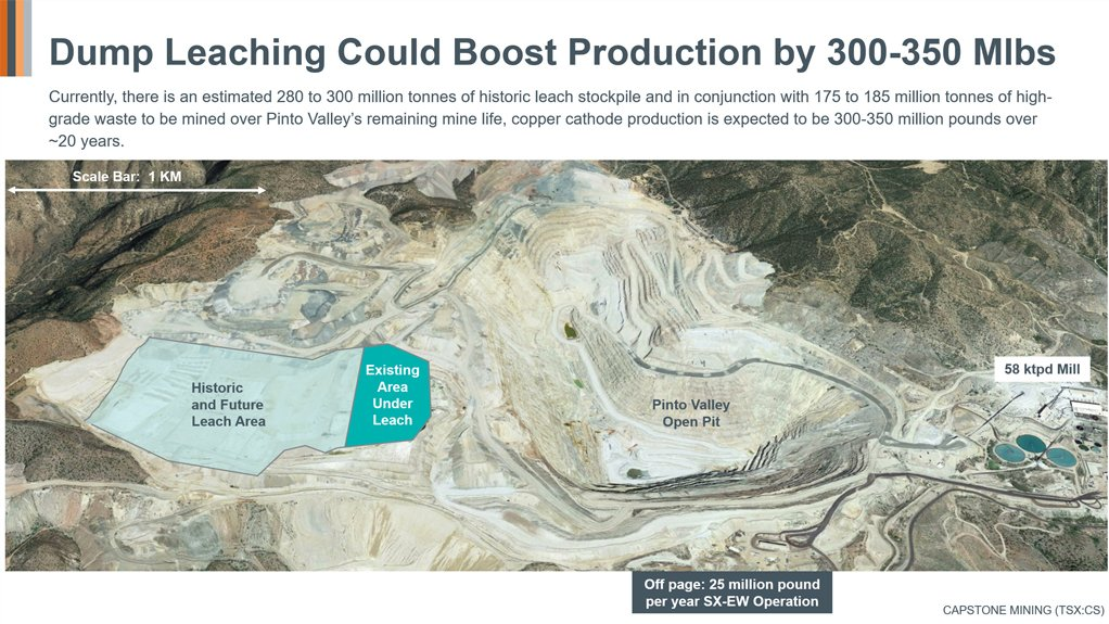 Capstone adopts novel copper extraction technology at Pinto Valley