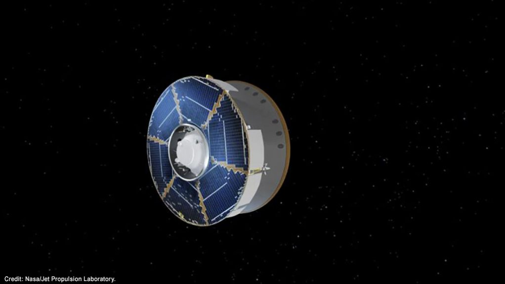 A computer-generated image of the Mars 2020 spacecraft en route to Mars