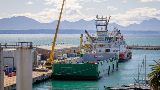 Rig platform vessel arrives in Mossel Bay for gas drilling expedition