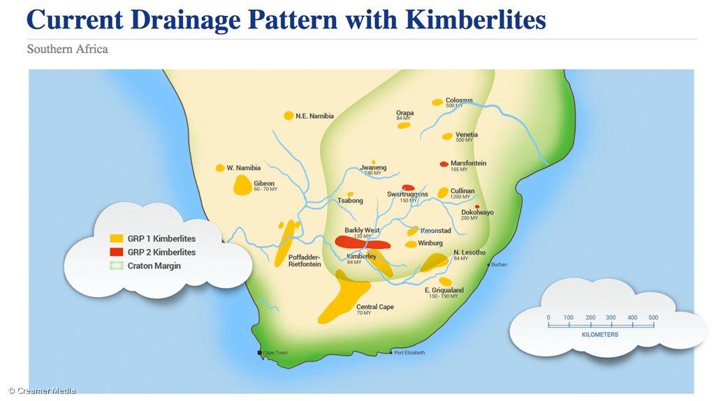 Southern Africa's alluvial diamond spread.