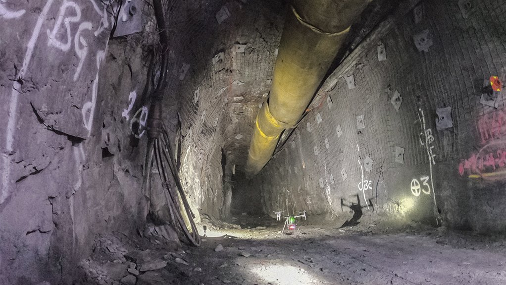 UNDERGROUND INSPECTION Mining companies have approached Dwyka Mining Services for drone adoption and internalisation, including the capturing and processing of data