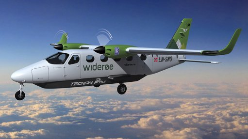 An artist's impression of the P-Volt aircraft in Widerøe livery