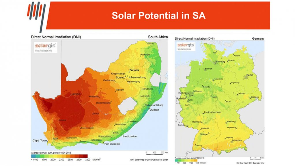 Map shows South Africa's major sun power to produce electricity to produce green hydrogen.