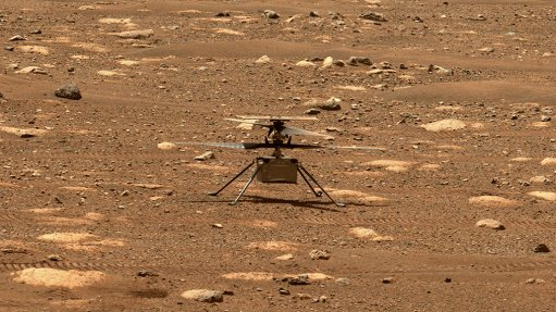 The Ingenuity helicopter sitting on the Martian surface