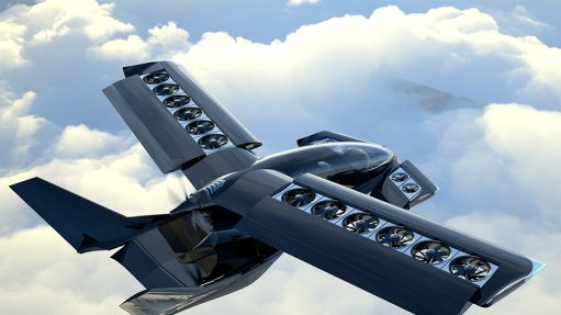 Artist's impression of the Cavorite X5 in vertical flight mode, with its wings open to allow its lift fans to operate