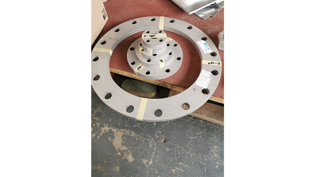 PERFECTLY NESTED The flanges and seals made on the new CNC waterjet machine are suited in design and material for perfect nesting