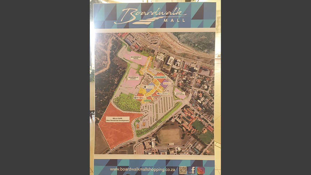 A layout of the Boardwalk Mall's building, and stores.