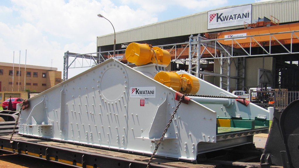 CUSTOM-DESIGNED VIBRATING EQUIPMENT One of many single deck screens manufactured by Kwatani ready for delivery