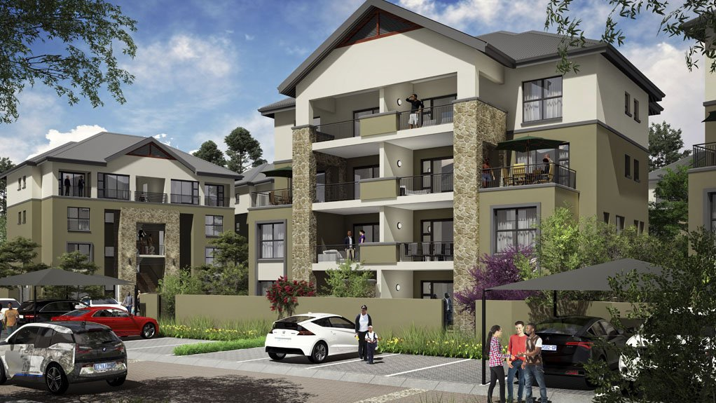 An artistic rendering of Balwin's apartments at its Waterfall development.