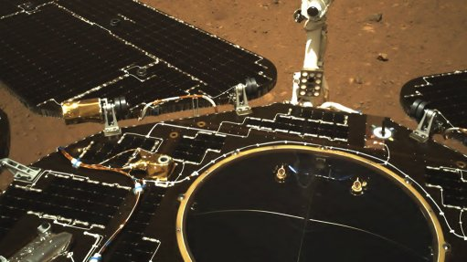 Zhurong navigation camera colour image showing deployed solar panels and antenna