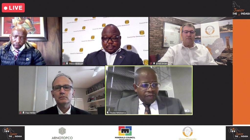 From top clockwise, ENSafrica COO Otsile Matlou, Geoscience CEO Mosa Mabuza, Orion Minerals CEO Errol Smart, DMRE DG Advocate Thabo Mokoena and AmaranthCX director Paul Miller.