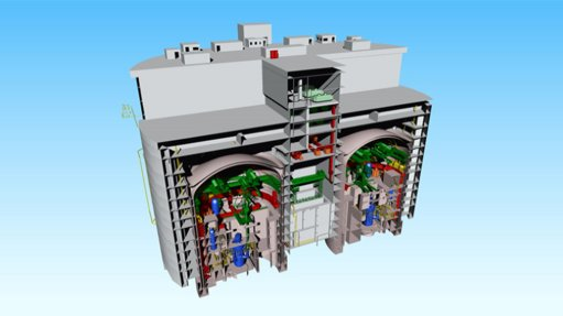 A cutaway diagram of a nuclear power plant with two ACP100 reactors