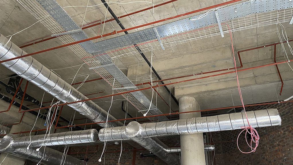 LOOKING UP Stewarts & Lloyds Projects supplied all the piping and fittings for the fire protection system, hanging material and fire water system for Steyn City