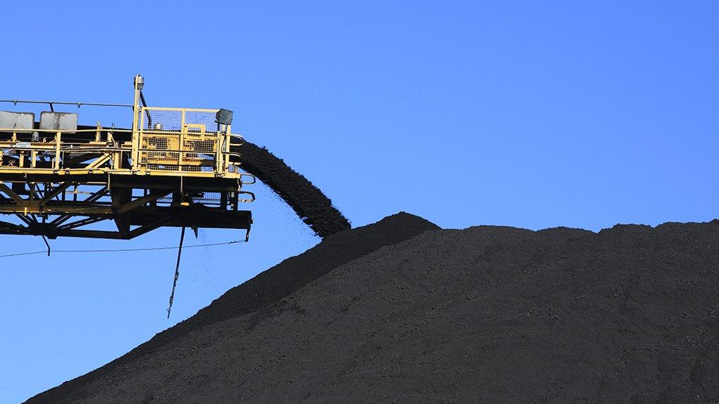 Coal stockpiling at Mpumalanga coal mine.