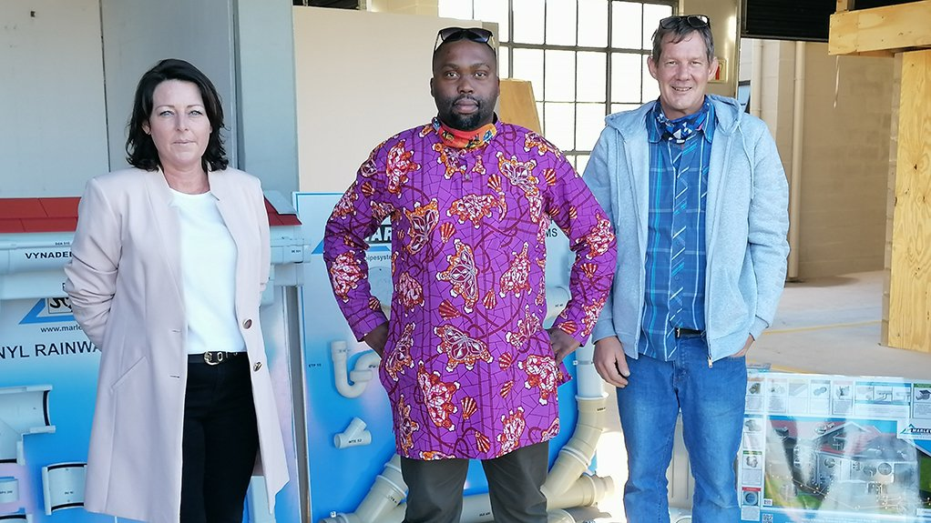 From left to right: Candice du Preez, Regional Sales Manager of Marley Pipe Systems; Siyabonga Dilimeni, Director: Business Development of Tjeka Training Matters; and JP West, Plumbing Instructor of Tjeka Training Matters