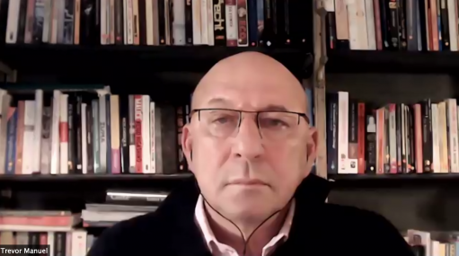 Former Finance Minister Trevor Manuel listening to questions posed by the Centre for Development and Enterprise's Ann Bernstein during a webinar this week