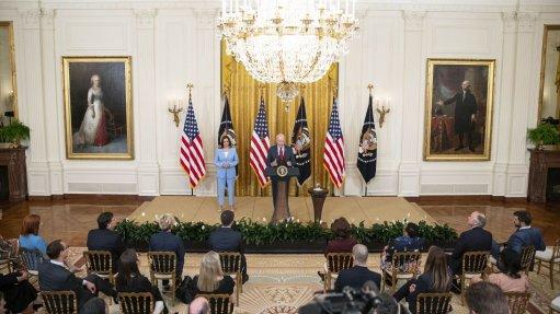 US President Joe Biden speaks in the East Room of the White House in Washington, DC on June 24.