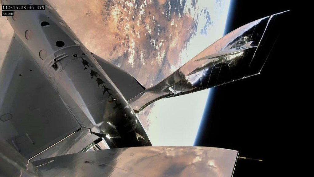 A view of VSS Unity, in space, in re-entry configuration