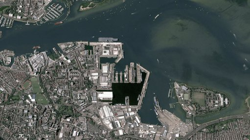 An Airbus Defence and Space Pléiades satellite image of the UK's Portsmouth Naval Dockyard – visible centre top is the aircraft carrier HMS Queen Elizabeth