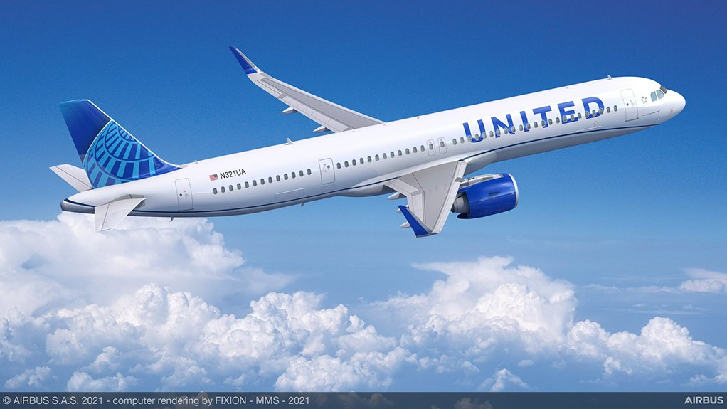 Artist's impression of an A321neo in United colours