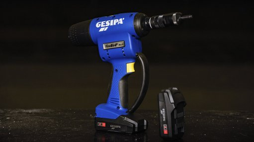 Cordless Rivnut tool with CAS battery used for accessory fitments