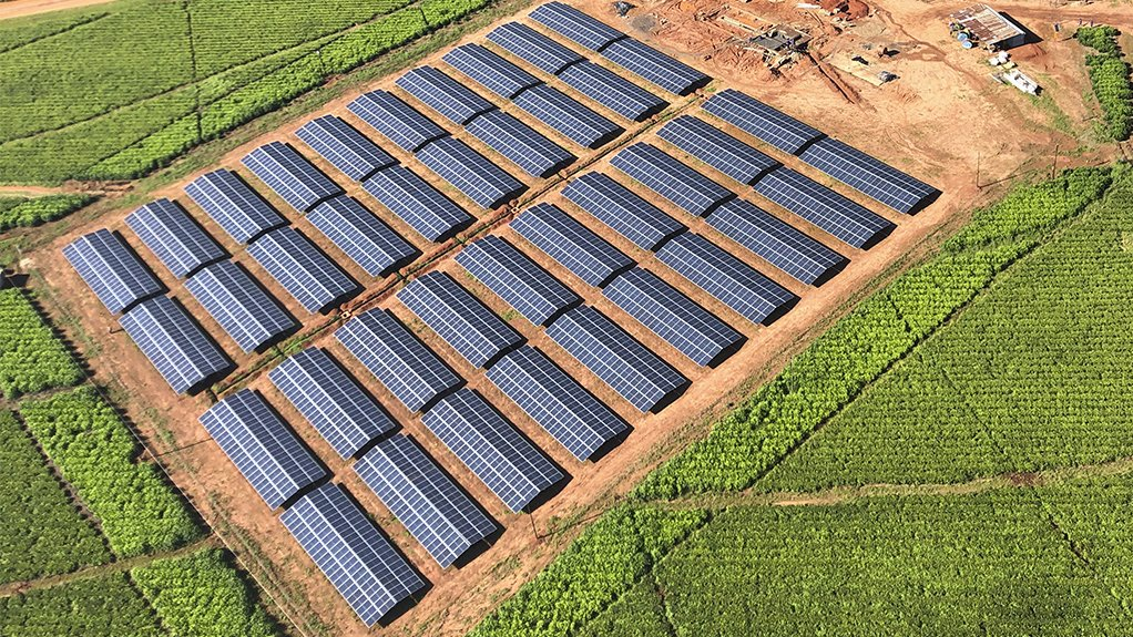 Large solar plant at an agriculture estate Zimbabwe