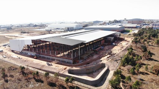 Large building, construction site with steel fabrication SEW Eurodrive HO