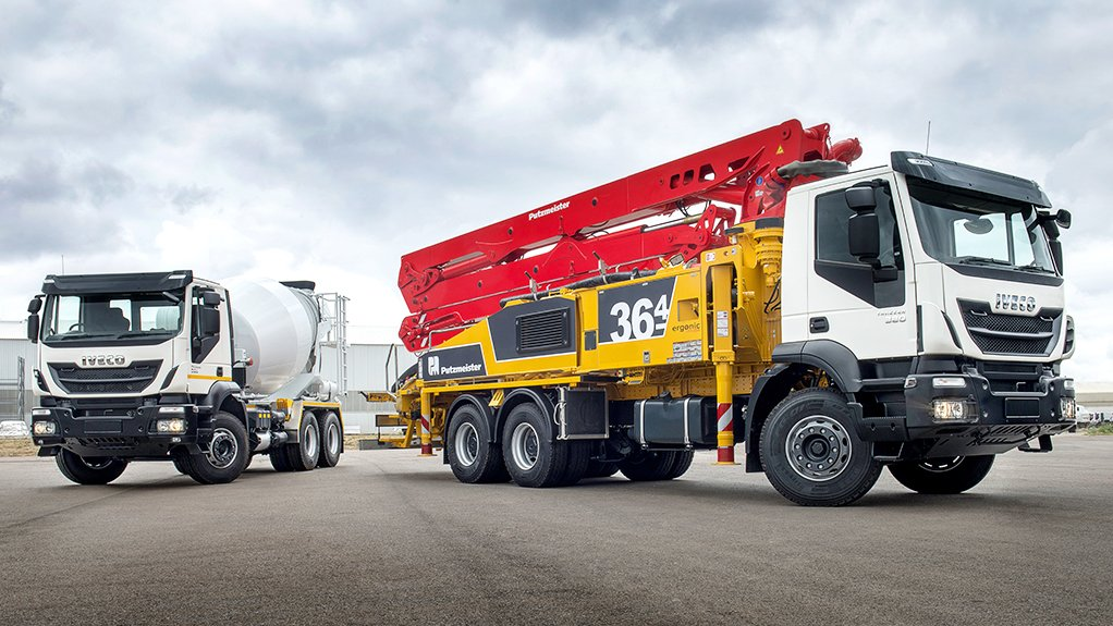 Large concrete mixer and truck mounted concrete pump Putzmeister