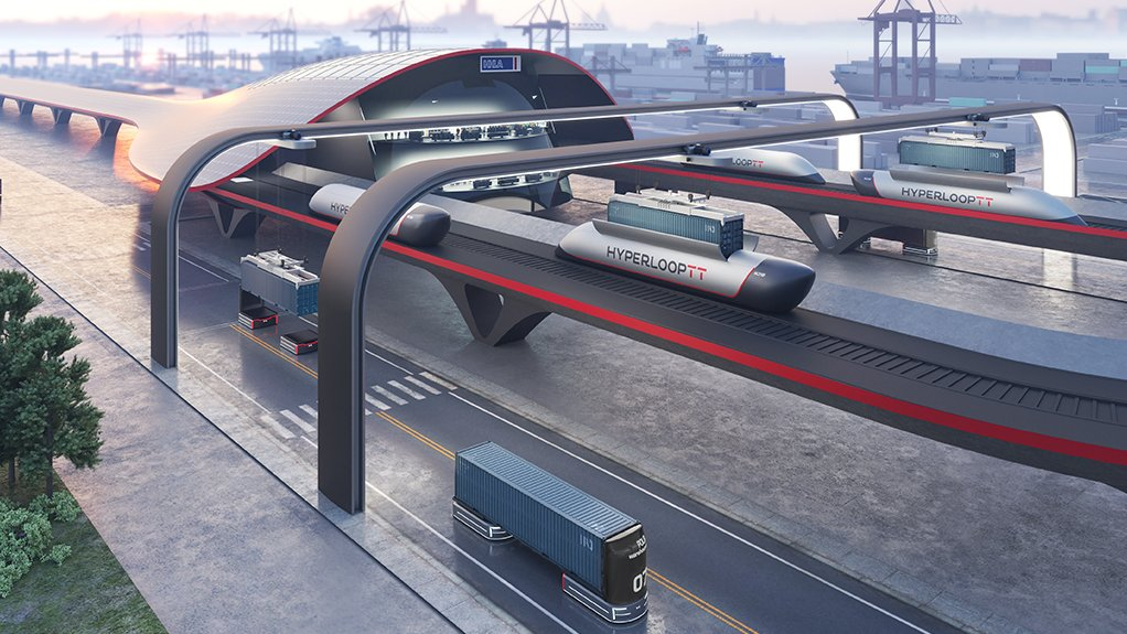 An image of the proposed hyperloop container transport system at the Hamburg port