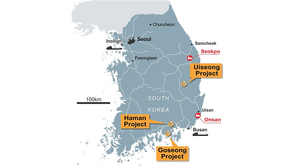 PROJECT LOCATION MAP Korean Metals has three projects in South Korea