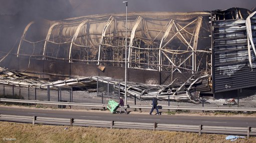 An image of the Brookside mall in Pietermaritzburg which was looted and bunt down