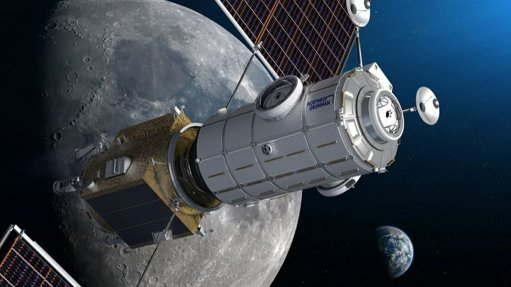 An artist's impression of the integrated Halo and PPE modules orbiting the Moon