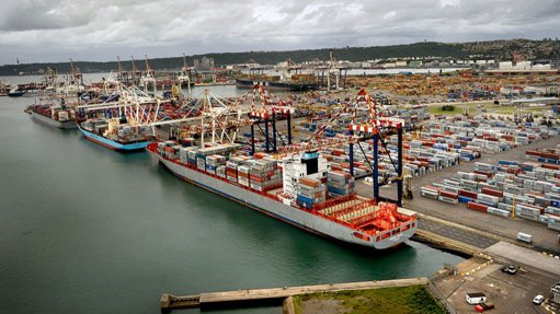 An image of the Durban container terminal