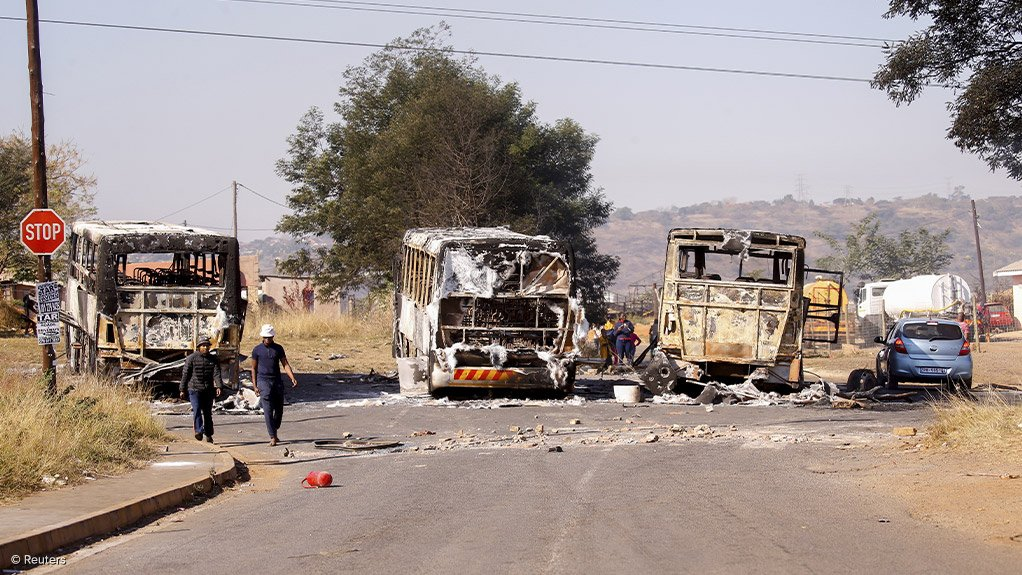 Image of burnt-out vehicles