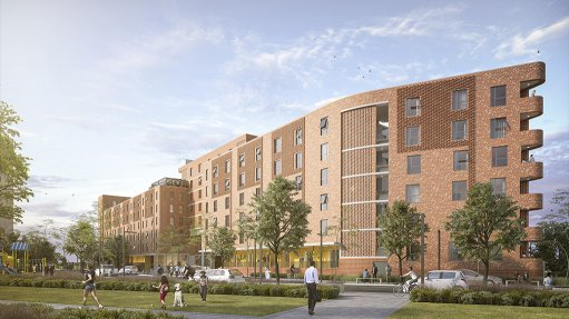 An image showing an artist's impression of the block that anchors the Conradie Park development