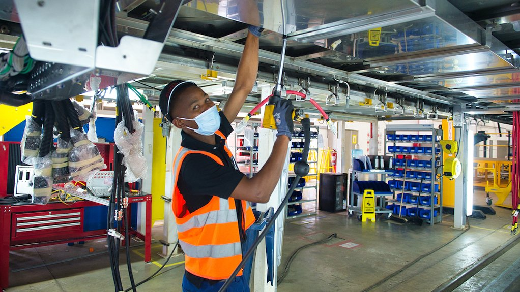 Image of a train being produced at the Gibela factory in Nigel