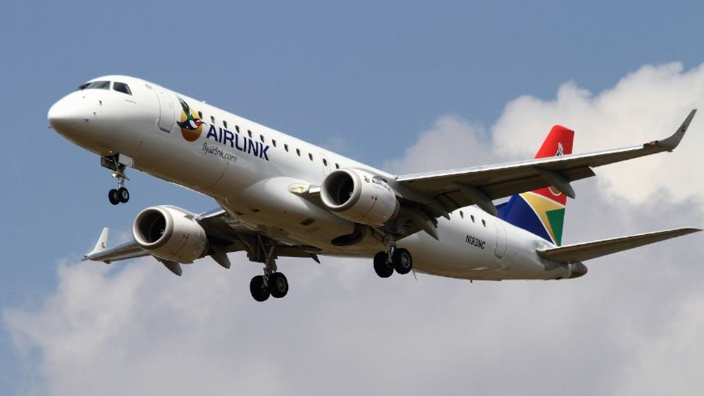 An image of an Embraer E190 airliner of South African airline Airlink