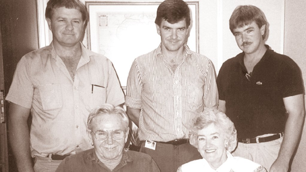 Image of An archive photo of the Bell family  (Back left to right) Brothers Peter, Gary and Paul (Front) Irvine and Eunice